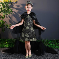 2 Pieces High Grade Embroidery Flower Girl Dress Sequined Wedding Drag The Floor Party Gown Feather Shawl Princess Dresses 2018