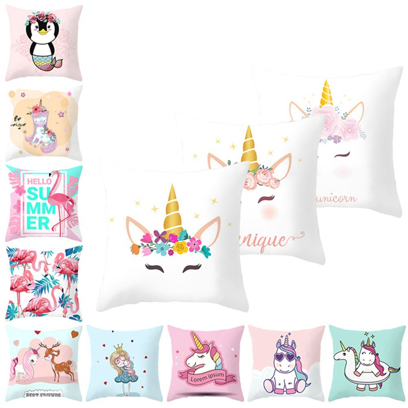 Cartoon 45x45cm Flamingo Unicorn Throw Pillow Case Home Bedroom Soft Square Cushion Cover Office Car Sofa Decorative Pillowcase In Cushion Cover From Home Garden On Aliexpress