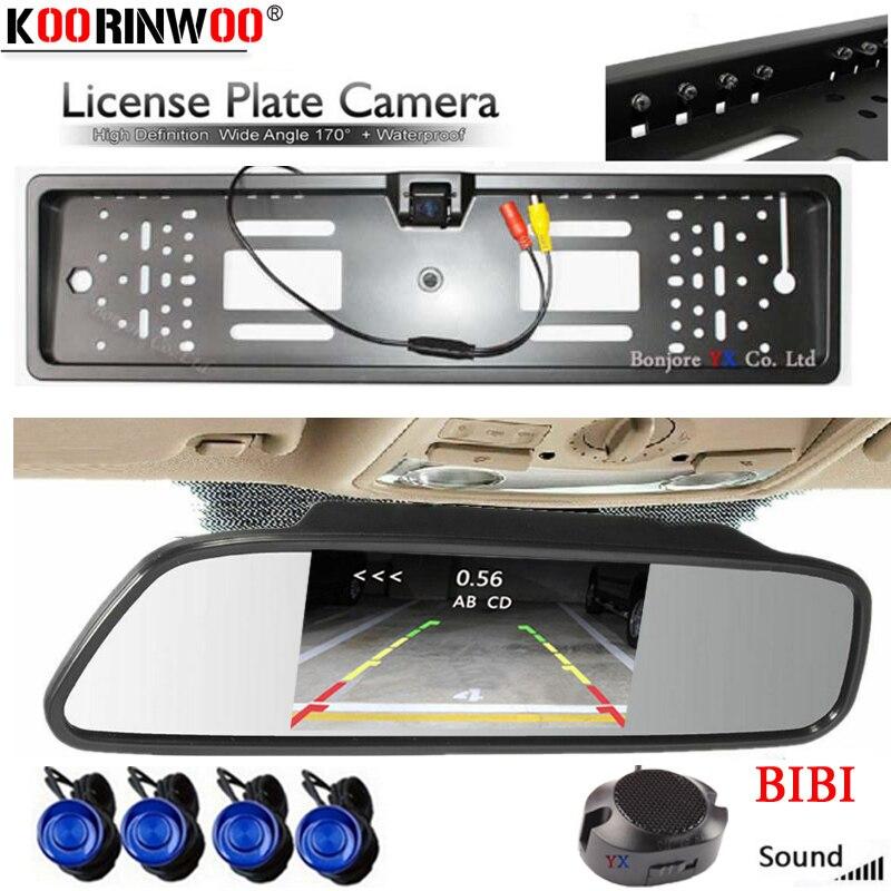 Koorinwoo EU Parktronic voiture miroir moniteur numérique licence voiture Parking capteurs Buzzer alarme Jalousie caméra de recul noir blanc