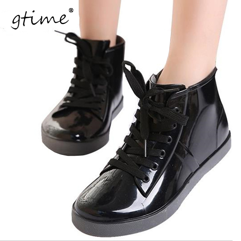 Gtime Lace Up Rain Boots Fashion Fashion Solid Ladies Flats Ankle Ankle Boots Casual