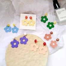 Fresh summer colorful resin flower stud earrings personality trend lady women jewelry цена и фото