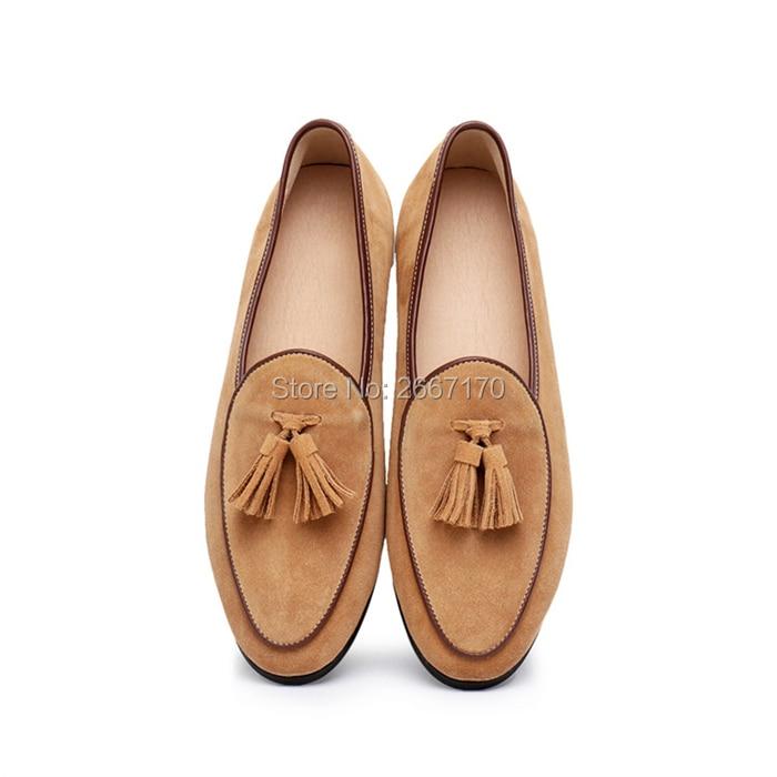 Top Kwaliteit Gentlemen Business Casual Schoenen Plus Size Slip Op Flats Man Bruin Blauw Groen Suède Tassel Loafers mannen - 3