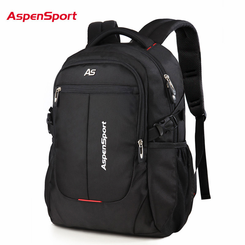 AspenSport Men Travel Bags Laptop Backpack Fit 15-17 Inch Computer Water Resistant College School Bag Black