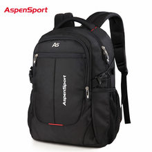 AspenSport Men Travel Bags Laptop Backpacks Fit under 16 Inch Computer Business Water Resistant College School Bag Black(China)