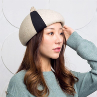 IANLAN Top Grade Striped Berets Winter Thermal 100% Wool Painter Hat British Style Caps Casual Pumpkin Hats One Size IL00155