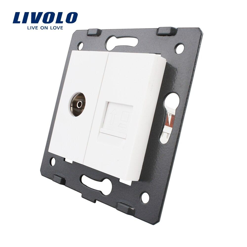 Fabricación Livolo, 2 Gangs computadora de pared y toma de TV/salida VL-C7-1VC-11, sin adaptador de enchufe