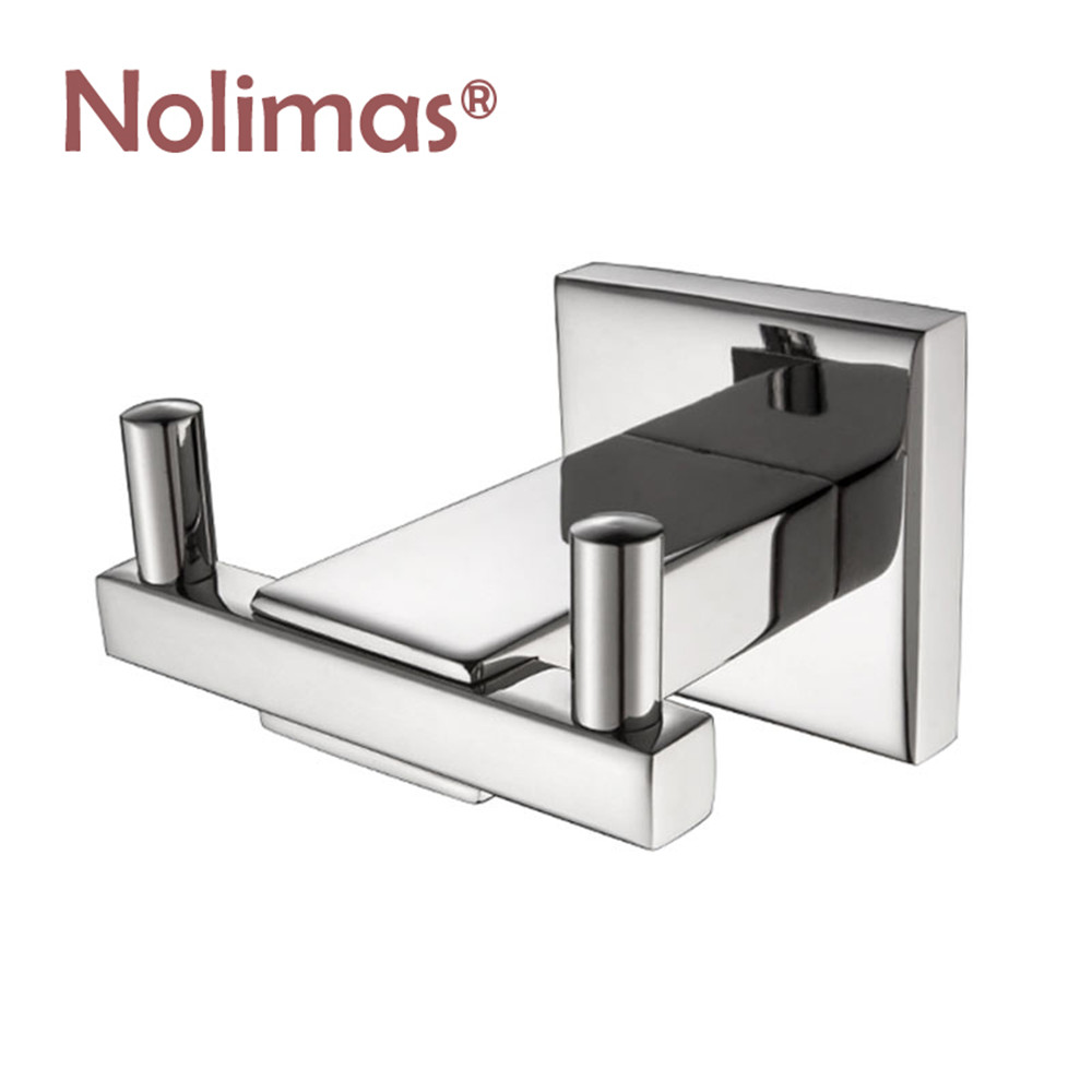 2018 Deluxe SUS 304 Stainless Steel Robe Coat Hook Chrome Brushed Wall Mount Square Towel Hat Dual Hook Door Hanger fixmee 50pcs white plastic invisible wall mount photo picture frame nail hook hanger