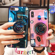 For iPhone XS Max X 7 8 Plus XR 3D Cute Cartoon Pink Panther Cat Stander Cover Blu-Ray Camera Soft Case Samsung S10