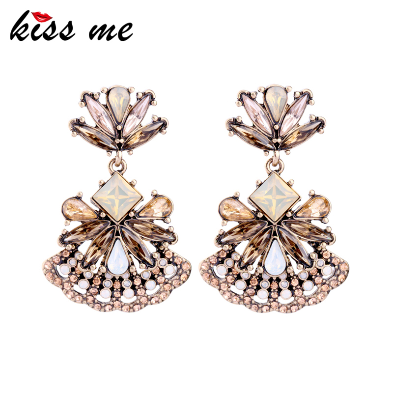 KISS ME Hollow Fan Shape Crystal Earrings for Women 2017 Brand Party Dangle Earrings Fashion Jewelry top quality fashion party custom jewelry for women colorful crystal earrings luxcy party earrings fine custom jewelry earrings
