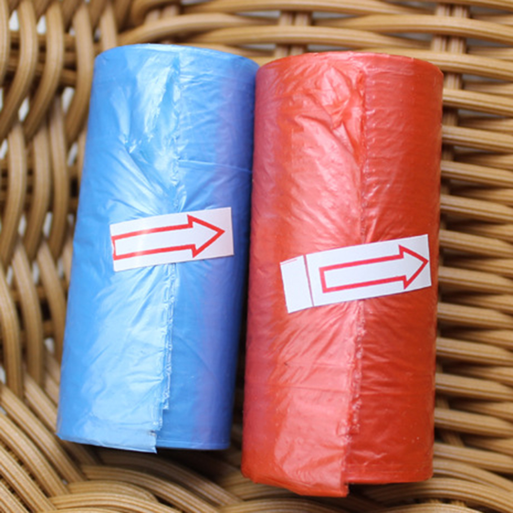 Small Roll Plastic Garbage Bag Rubbish Bags One-Time Trash Bags 15 Pcs/Roll