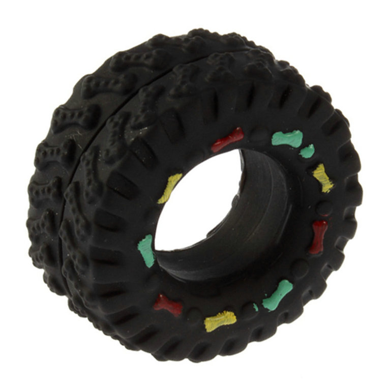 Animal Sounds Tire Shape Pet Dog Toy Puppy Cat Chews Squeaky Rubber Toys Squeaking 8*4cm tire pet toys
