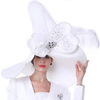 Vintage Women Derby Church Hats Wedding Mother Of Bride Hats White Color Fashion Hat Lady Evening Party Fomal Fedora Cap
