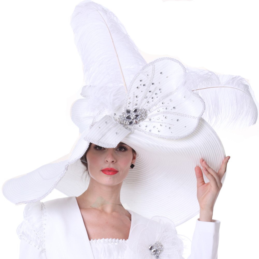 Vintage Women Derby Church Hats Wedding Mother Of Bride White Color Fashion Hat Lady Evening