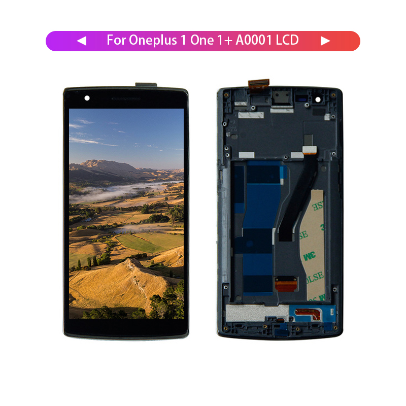 For Oneplus one A0001 1+ Oneplus 1 LCD Display Digitizer Screen Touch Panel Sensor Assembly + Frame 1920*1080|screen touch|lcd display|lcd digitizer - title=