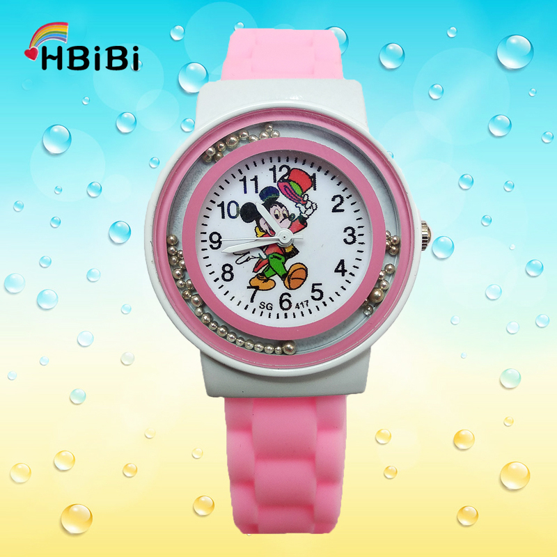2019 New HBiBi Brand Mickey Children's Watch For Boys Girls Student Clock Fashion Children Creative Small Ball Dial Kids Watches