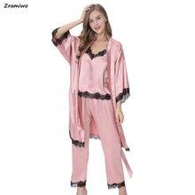 fa525d8d07a05 Satin Pyjamas à manches longues peignoir Camisole et pantalon confortable  salon porter Robe & Pijamas ensembles 3 pièces vêtemen.