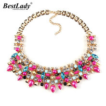 Best lady Brand Fashion Colorful Crystal Gem Statement Pendants Costume Choker Flower Collar Necklace Statement Jewelry 2408(China)