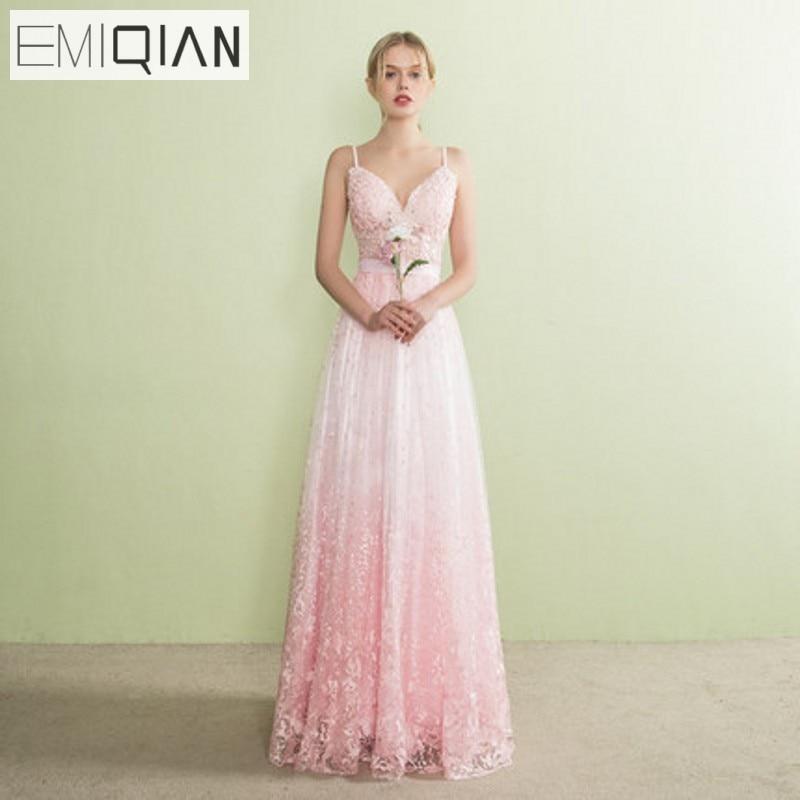 Designer A Line Backless Spaghetti Strap Formal Prom Party Dress Pink Lace Evening Dresses Vestido de festa