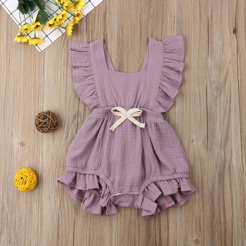 HTB1VeeXasrrK1RjSspaq6AREXXao 6 Color Cute Baby Girl Ruffle Solid Color Romper  Jumpsuit Outfits Sunsuit for Newborn Infant Children Clothes Kid Clothing
