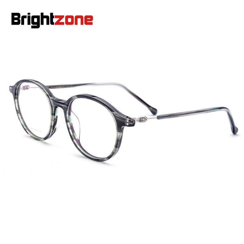 Brightzone New Pattern Round Ancient Ways Men Women Glasses Frame Manual Baffle Plate Material Spectacle Frame Adjustable Eye