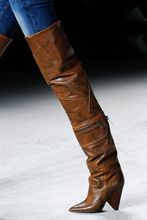 Schoenen Vrouw Girls Shoes Pointed Toe Thigh High Boots Vintage Brown Leather Winter Shoes Women Long Knight Boots Chunky Heels недорого