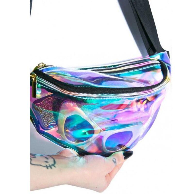 Bolsa Pochete De Cintura Holográfica Transparente