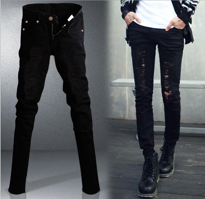 Mens Denim Pants Men Skinny Jeans Jean Ripped Fit Slim Trousers Distressed Biker