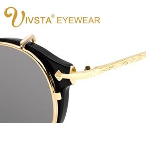 Image 5 - IVSTA Clip On Sunglasses Men Removable Clips Flip Up Glasses Round Steampunk Women Optical Frame Graduated Retro Mirror Lenses