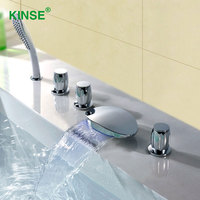 KINSE Brass Material Chrome Finish Five Piece Bathtub Faucet Big Waterfall Bathroom Faucet Mixer With Hand