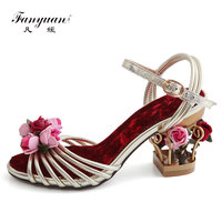 Fanyuan Summer Sandals Flower Embellished Bird Cage Garden Ankle Strap Sandals Fashion Wedding Party Dress Shoes
