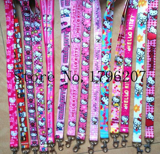 b6b4ece36 10PCS Cartoon hello kitty Random Neck Strap Lanyard Mobile Phone Charms Key  Chain ID Badge Key