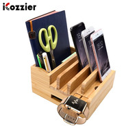 iCozzier Bamboo Charging Station for iPad Stand Desktop Organizer Tablet Cellphone Holder Cord Organizer Multi Devices Station