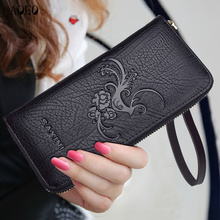 AOEO Embossing Leaves Ladies Wallet Women With Split Leather Purse For Girls Handbag Coin Money Bag Wristlet Slim Wallets Female
