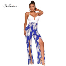 Echoine Women Jumpsuit Patchwork Floral Print Sexy Spaghetti Straps Sleeveless Backless Loose Long Wide Leg Pants Split Rompers green backless tiered flared details floral print self tie design wide leg jumpsuit
