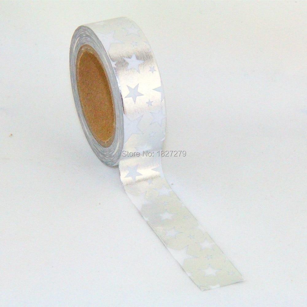 New 1X 15mm Tape  Glitter Star Print Scrapbooking DIY Sticker Decorative Masking Japanese Washi Tape Paper 10m