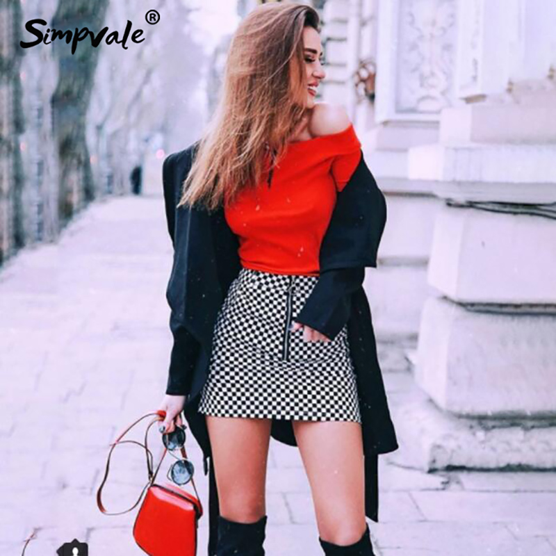 SIMPVALE Checker board classic plaid mini skirt women Metal circle zipper pull Slim short skirts Streetwear Summer pencil skirts