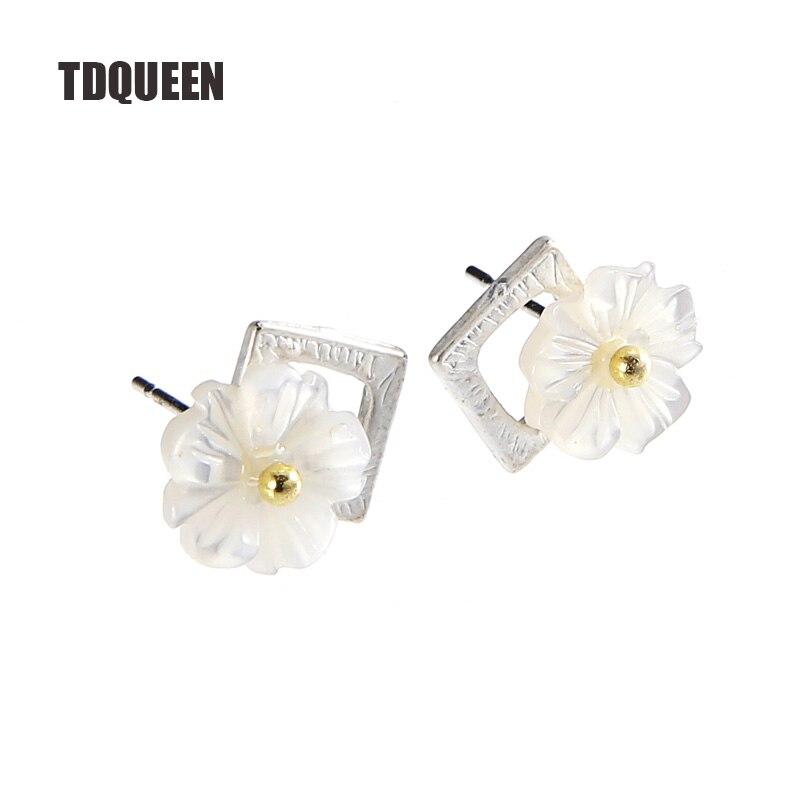 TDQUEEN Stud Earrings Women Trendy Style Earring Pearl Shell Flower Fashion Jewelry Silver Plated Mini Ear Stud Earring