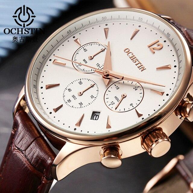2017 Fashion OCHSTIN Men Watches Top Brand Luxury CHRONOGRAPH Function Date Leather Sport Watch Men Business Quartz Wrist Watch