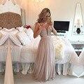 Vestidos De Festa até o chão Lace Top ver através Prom Vestidos De Festa vestido elegante