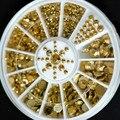 New Hot Sale 5 Tamanhos DIY 3D Decoração Da Arte Do Prego Acrílico Glitter Strass Ouro Caixa De Diâmetro 5 cm 0078