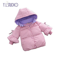 Snow Wear Clothes Baby Girl Winter Down Cotton Coat 2018 New 1 Year Girls Jacket Hooded Snowsuit Cute Pink Ruffle Sleeve Costume