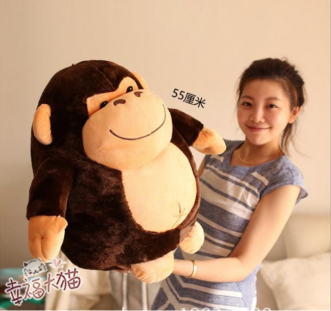 55cm Cute doll Gorilla plush toy monkey doll Black brown birthday Christmas gift, lovely middle plush monkey toy cute yellow coat monkey toy doll gift about 65cm 0127