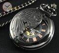 Новый 2015 Прохладный Черный Стали Крыла Механические Карманные Часы Рука Обмотки Стимпанк С Цепью Fob Часы Мужчина Женщина