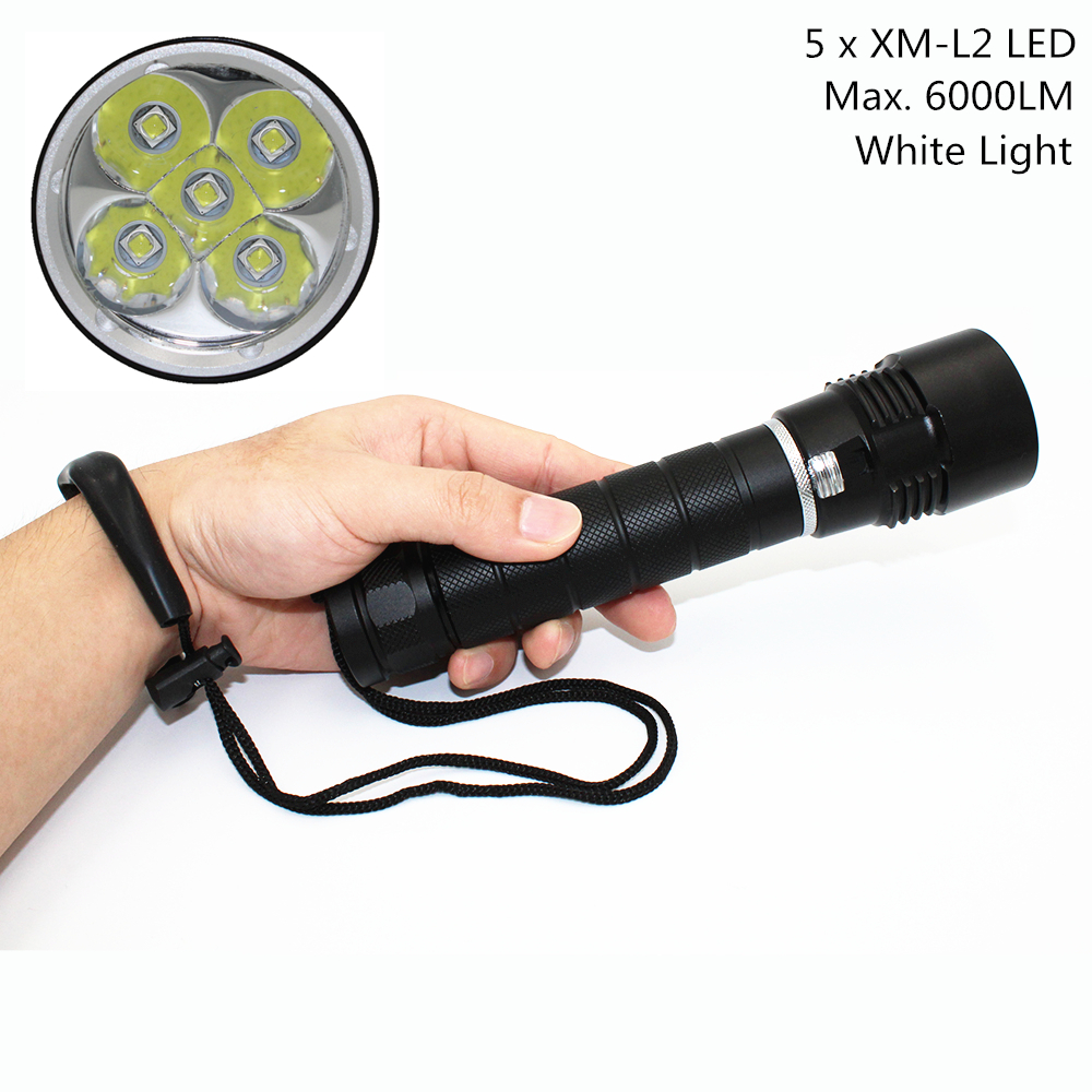 Scuba Diving Flashlight Light Dive Torch 5x CREE XM-L2 LED Underwater Flashlight Waterproof Diving Lamp lanterna use 26650 newest underwater scuba diving light 14000 lumen led torch cree 7 x xm l2 waterproof flashlight light for dive 26650 lanterna
