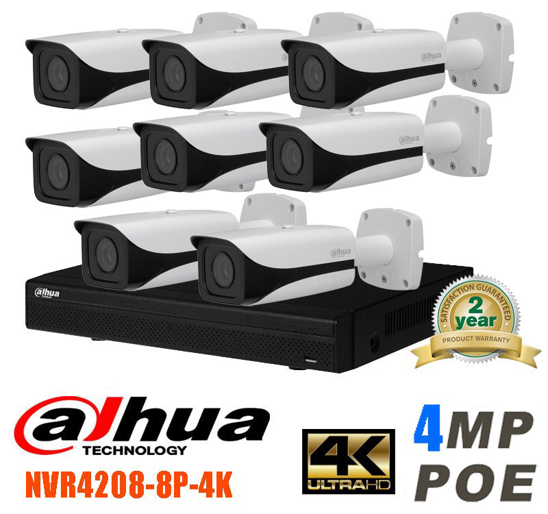 Dahua 8CH CCTV 1080P NVR4208 IP Camera System/Kit with 8PCS DAHUA IPC-HFW4421E 4MP Full HD WDR Network Small IR Bullet IP Camera 4 pcs 1080p wireless ip camera 1pcs 8ch nvr kit
