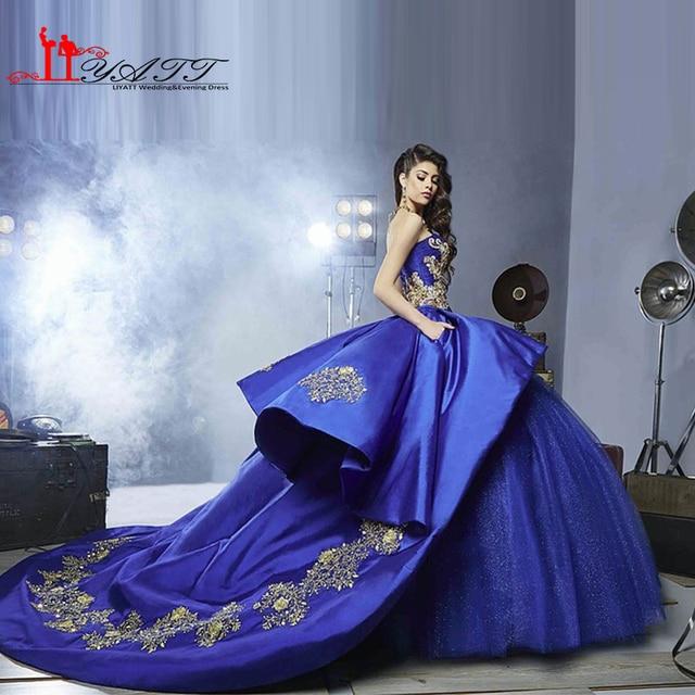 2016 Sexy Docinho Royal Bluee Ball Vestido Vestidos Quinceanera Ouro Apliques Doce 16 Vestidos Vestidos De 16 Vestidos de Festa