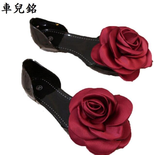 00edcde20fbf1 summer Jelly shoes women sandals rose flower flats slip on sandalia  feminina transparent plastic crystal beach shoes