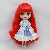 T02 X054 Blyth Doll Clothes 1 6 Dolls Accessories Handmade Princess Lace Dress Pink Blue Color