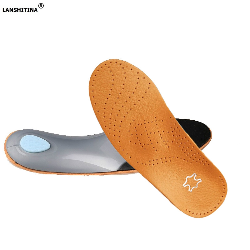 3D Leather Orthotics Insole Flat Foot Arch Support Orthopedic Silicone Insoles Men Women Soles For Shoes Breathable Foot Pad