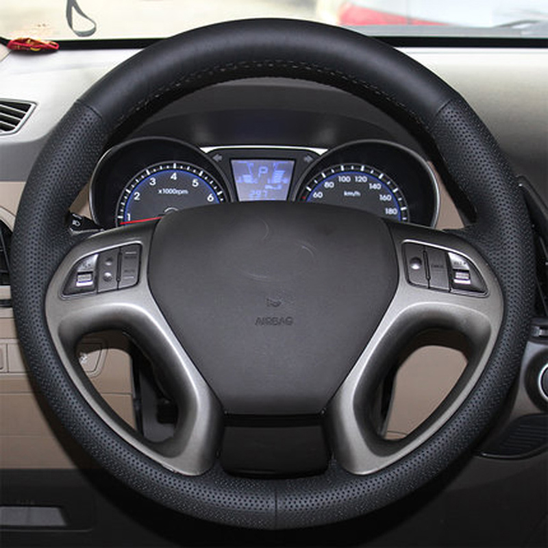 цены Free Shipping High Quality cowhide Top Layer Leather handmade Sewing Steering wheel covers protect For Hyundai ix35/Tucson 2